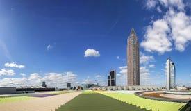Messeturm and the Marriott hotel next to Frankfurt Trade Fair Gr royalty free stock photos