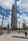 Messeturm on the site of the fairgrounds in Frankfurt, Germany.  Stock Photo