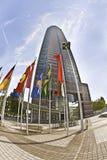 Messeturm - torn för handelmässa i Frankfurt - f.m. - strömförsörjning Royaltyfri Fotografi
