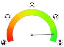 Messgerät mit verschiedenen Abschnitten für Zufriedenheit Stockfotos