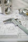 Messgerät und Werkstück Stockbilder