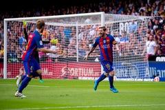 Messi庆祝一个目标在巴伦西亚锎和巴塞罗那足球俱乐部之间的西班牙足球甲级联赛比赛在Mestalla 免版税库存图片