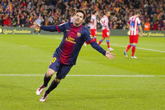 Messi celebrating a goal. BARCELONA - DECEMBER 16: Lionel Messi celebrating a goal at the Spanish League match between FC Barcelona and Atletico de  Madrid Royalty Free Stock Photography