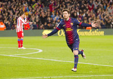 Messi celebrating a goal Stock Photos
