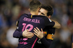 Messi e Jordi Alba do FC Barcelona fotos de stock royalty free