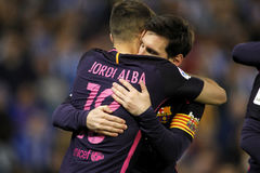 Messi en Jordi Alba van FC Barcelona Royalty-vrije Stock Foto