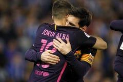 Messi i Jordi albumy FC Barcelona zdjęcie royalty free