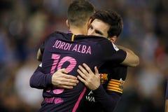 Messi i Jordi albumy FC Barcelona zdjęcia royalty free
