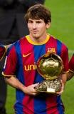 Messi mit goldenem Kugel-Preis Stockfotografie