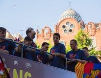 Messi, Pique and Suarez Barça treble celebration Royalty Free Stock Photography