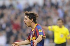 Messi que celebra meta Foto de archivo