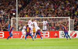Messi shooting a free kick Stock Photography