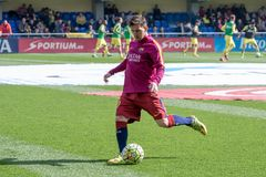 Messi si scalda prima della partita di Liga della La fra il Villarreal CF ed il FC Barcelona Immagine Stock Libera da Diritti