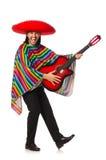 Messicano in chitarra viva della tenuta del poncio isolata sopra Fotografie Stock