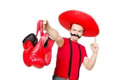 Messicano divertente con i guanti del pugile Immagine Stock