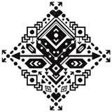 Messicano ed ornamento tribale azteco con cuore Immagine Stock