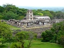Messico恰帕斯州,帕伦克,寺庙的全景 免版税库存照片