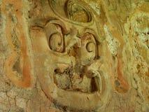 Messico Chiapas, Palenque, Gesicht eines Gottes im Flachrelief stockbilder