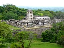 Messico Chiapas, Palenque, vista panorámica del templo foto de archivo libre de regalías