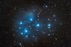 Messier 45 also nebula know as Pleiades. Messier 45 nebula also know as Pleiades taken with dedicated astrophotography camera on the telescope stock photography