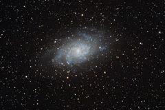 Messier 33 galaxy. Galaxy Messier 33 in Triangulum, seein with an amateur telescope, is one of the closest to ou Milky Way royalty free stock image