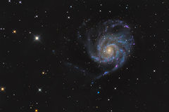 Messier 101 or Pinwheel galaxy in the constellation Ursa Major taken with CCD camera and medium focal length telescope. The Pinwheel Galaxy (Messier 101, M101 or stock photos
