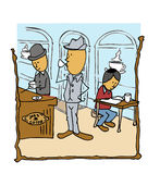 Messieurs de café de wagon-restaurant buvant du café lisant le papier Images stock