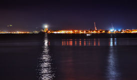Messina harbor and lighthouse at night Royalty Free Stock Photography