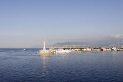 Messina 1. Located at the entrance to the harbor, the stele is on the top of a bronze statue of the patroness of Messina Stock Photos