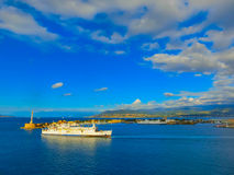 Messina, Sicily, Italy - May 05, 2014: The view of port of Messina, the main entrance of the port Royalty Free Stock Image