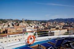 Messina sicily Vista della città dalla nave Fotografia Stock Libera da Diritti