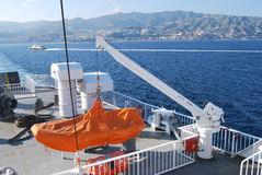 Messina Strait. A lifeboat on a ferry. Messina Strait, Southern Italy Stock Photo