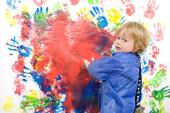 Messing about with finger paint Stock Photography