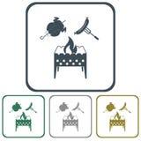 Messingarbeiter-, Hühner- und Wurstikone Stockfoto