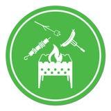 Messingarbeiter-, Zefir-, Kebab- und Wurstikone Lizenzfreies Stockfoto