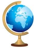 Messingkugel mit Hand gezeichneter Weltkarte Lizenzfreies Stockbild