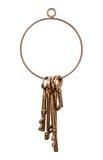 Messingschlüsselring und Schlüssel Lizenzfreies Stockbild