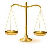 Messingskalen von Gerechtigkeit. Vektor. Stockfotografie
