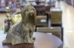 Messingstatuette des Yorkshires Terrier auf einem runden Holztisch lizenzfreie stockfotografie