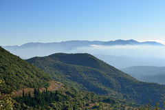 Messinia. Classical landscape, mountain in morning mist. Greece, Peloponnese Royalty Free Stock Photo