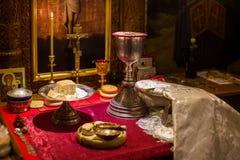 Messkelch für Kommunion im orthodoxen Kloster Lizenzfreie Stockbilder