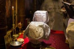 Messkelch für Kommunion im orthodoxen Kloster Lizenzfreie Stockfotos