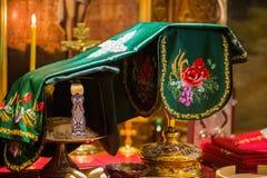 Messkelch für Kommunion im orthodoxen Kloster kiew Lizenzfreie Stockfotografie