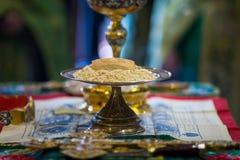 Messkelch für Kommunion im orthodoxen Kloster kiew Lizenzfreie Stockfotos