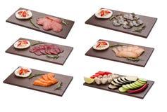 Messo con gli ingredienti degli spuntini per la griglia tailandese Cucina asiatica fotografia stock