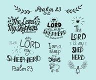 Messo con la mano che segna il salmo 23 e l'iscrizione con lettere il signore è il mio pastore illustrazione di stock
