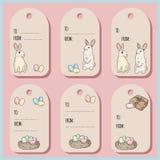 Messo con le etichette e le carte del regalo di Pasqua con il coniglietto di pasqua Illustrazione di vettore illustrazione vettoriale