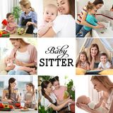 Messo con le immagini dei bambini e delle babysitter adorabili immagine stock libera da diritti