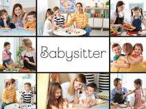 Messo con le immagini dei bambini e delle babysitter adorabili immagini stock