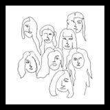 Messo con sei ritratti femminili Messo con sei ritratti femminili illustrazione vettoriale